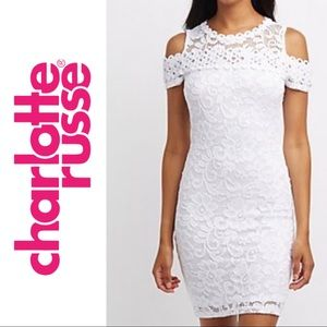 Charlotte Russe White Lace Fitted Dress Mini Dress